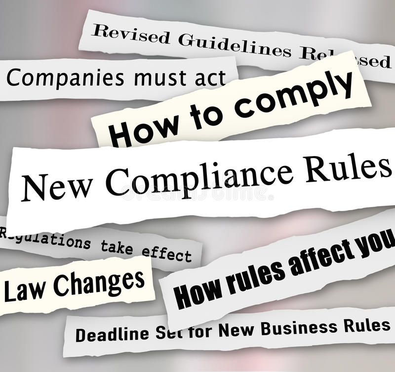 A conformidade Headlines regulamentos novos rasgados jornal do negócio ilustração do vetor