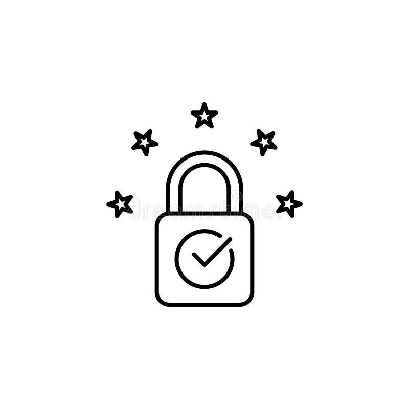 Conformidade, licença, ícone do eu O elemento de dados gerais projeta o ícone para apps móveis do conceito e da Web Linha fina co ilustração royalty free