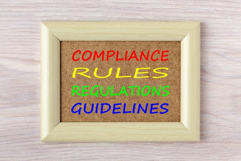 A conformidade ordena o conceito das diretrizes dos regulamentos fotografia de stock royalty free