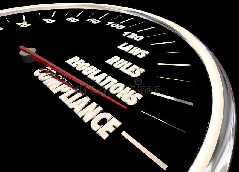 A conformidade ordena o velocímetro dos regulamentos das leis ilustração stock