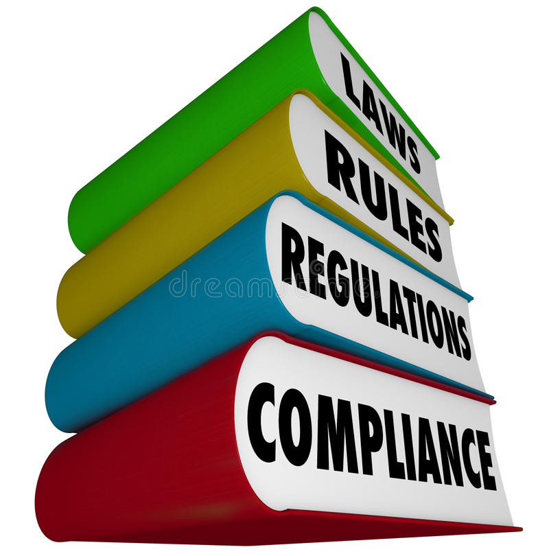 A conformidade ordena a pilha dos regulamentos das leis de manuais dos livros ilustração do vetor