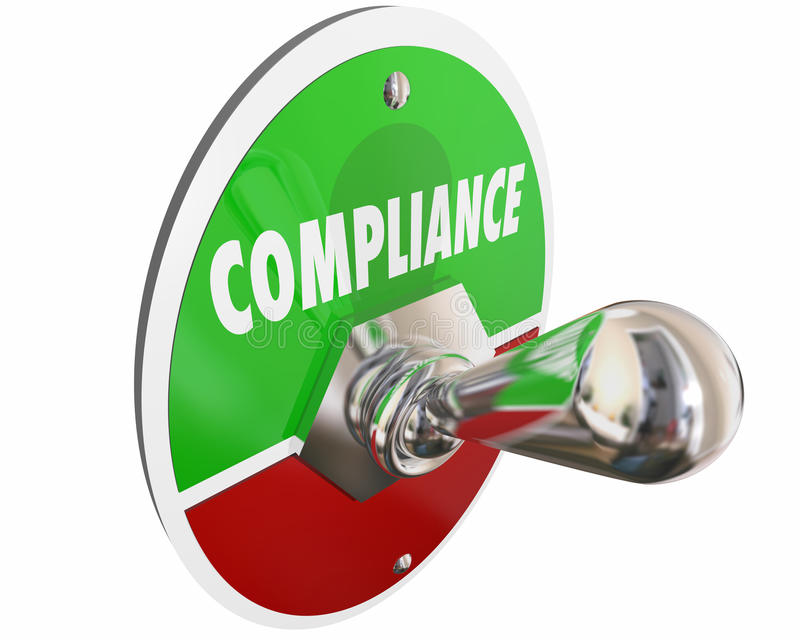 A conformidade segue o interruptor dos regulamentos das leis das regras ilustração royalty free