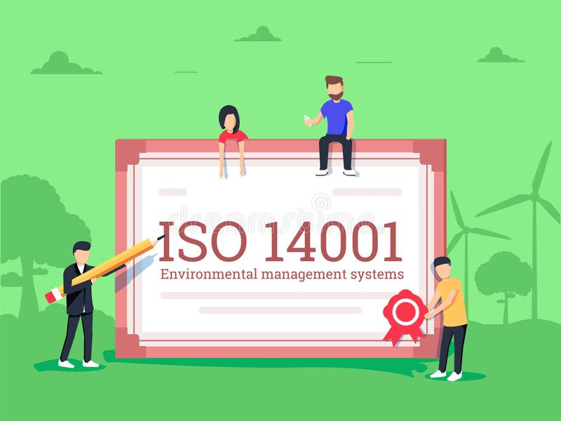 Conformità ambientale di norma di certificazione del sistema di gestione di iso 14001 illustrazione vettoriale