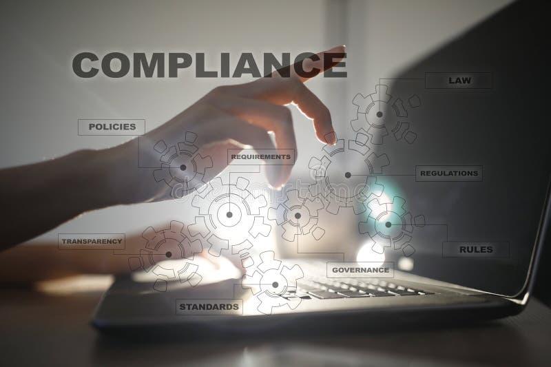 Conformità sullo schermo virtuale Concetto di affari immagini stock libere da diritti