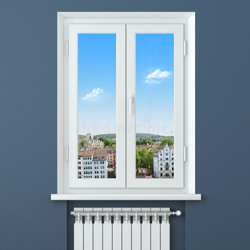 confort dans la maison radiateur d 39 appareil de chauffage dans la chambre illustration stock. Black Bedroom Furniture Sets. Home Design Ideas