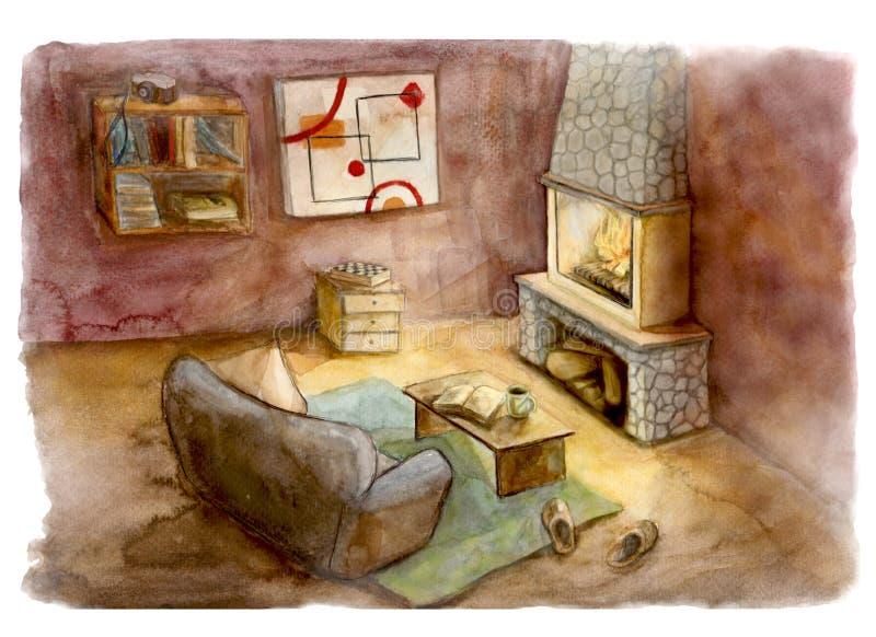 Conforto na aquarela interior ilustração stock