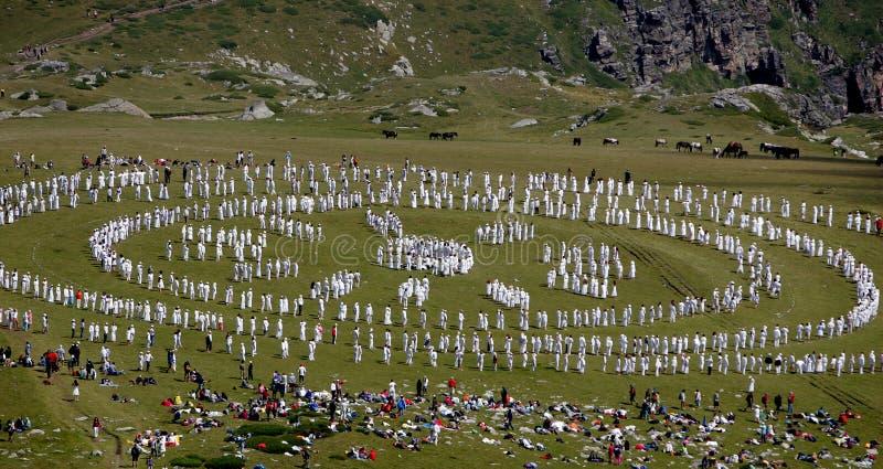 Confr?rie de blanc de montagne de la Bulgarie Rila photo stock