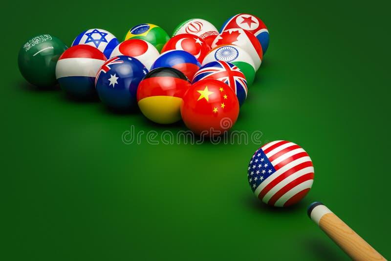 Confrontação política global, conceito do conflito rendição 3d ilustração royalty free