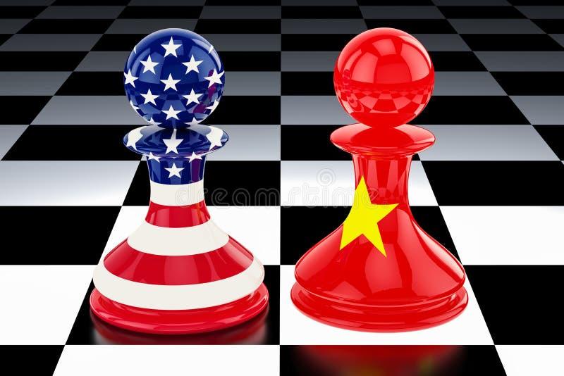 """Confrontación de China†""""Estados Unidos y concepto de la oposición 3D r stock de ilustración"""