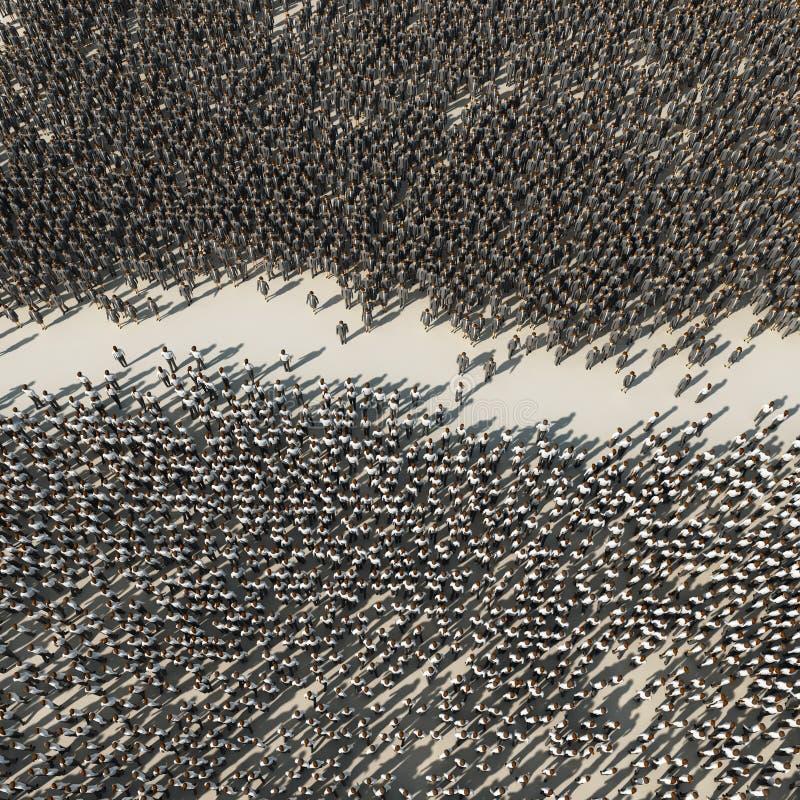 Confrontación entre dos grupos de personas ilustración del vector