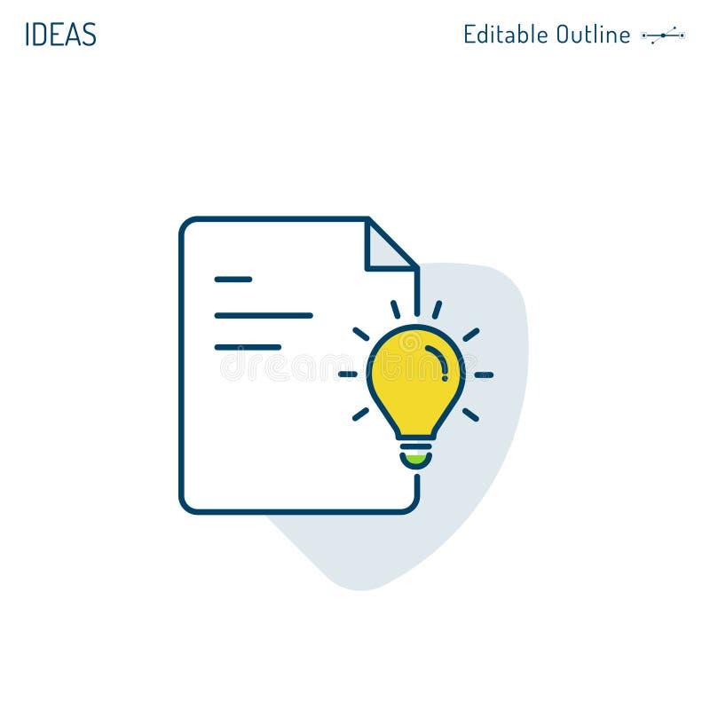 Confrontando le idee, icona di idea, strategia iniziata, pensiero creativo, icona della lampadina, documento, archivi dell'uffici illustrazione vettoriale
