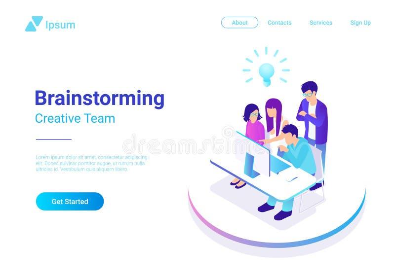 Confrontare le idee concetto isometrico della gente creativa del gruppo di lavoro di squadra illustrazione di stock