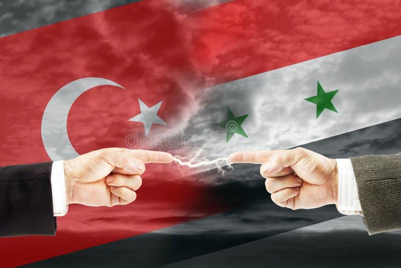 Confrontatie en vijandschap tussen Turkije en Syrië stock foto's