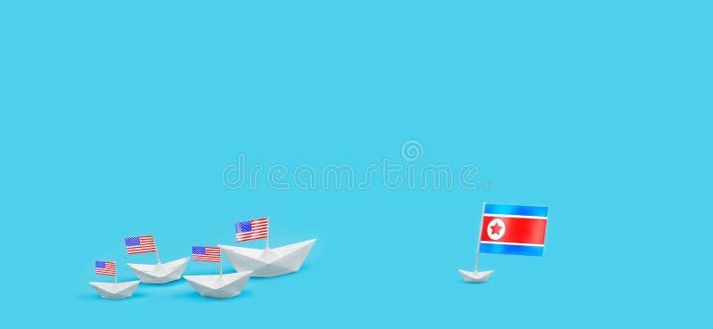 Confrontatie tussen de V.S. en Noord-Korea Bedreiging van kernstaking Zee Slag Oorlog Politieke combate stock foto