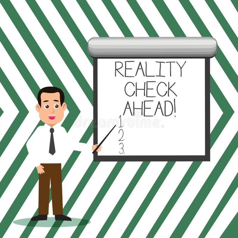 Confrontation avec la réalité des textes d'écriture de Word en avant Concept d'affaires pour des faits Consider sur la perspectiv illustration de vecteur