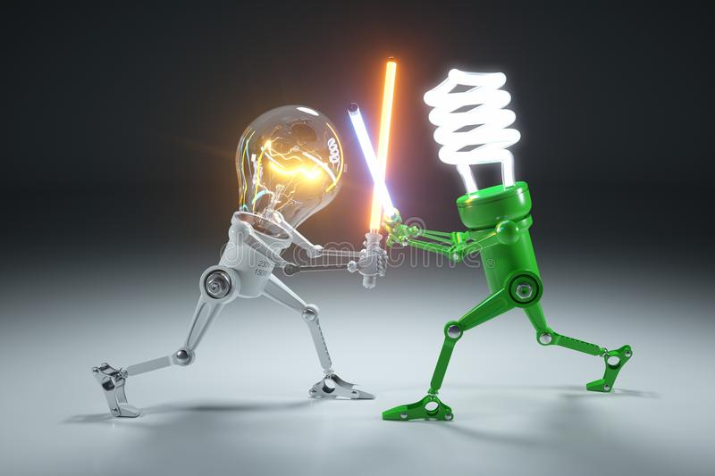 Confrontation cartoon personages bulb light and LED light lamps. In style Star Wars. 3d concept royalty free illustration