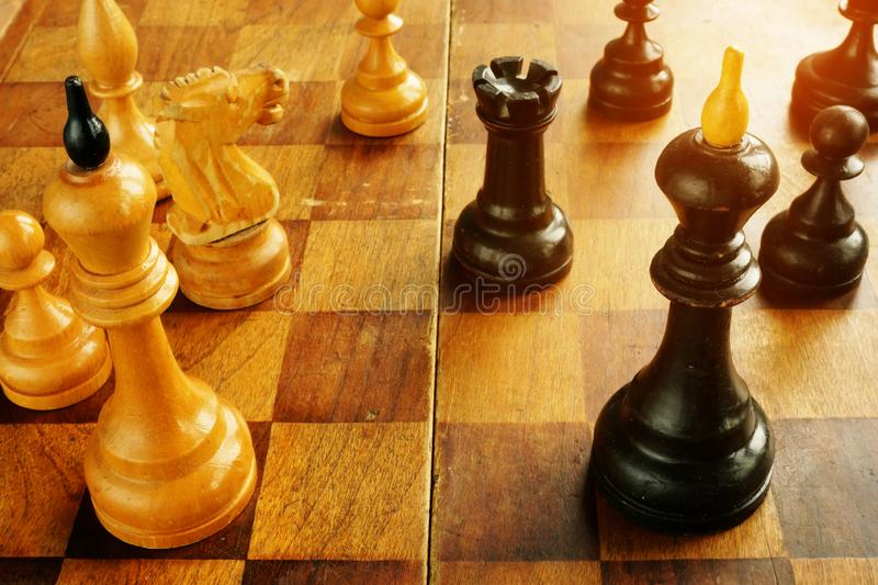 Confrontation and conflict. Chess kings opposite each other. Confrontation and conflict concept. Chess kings opposite each other stock photo