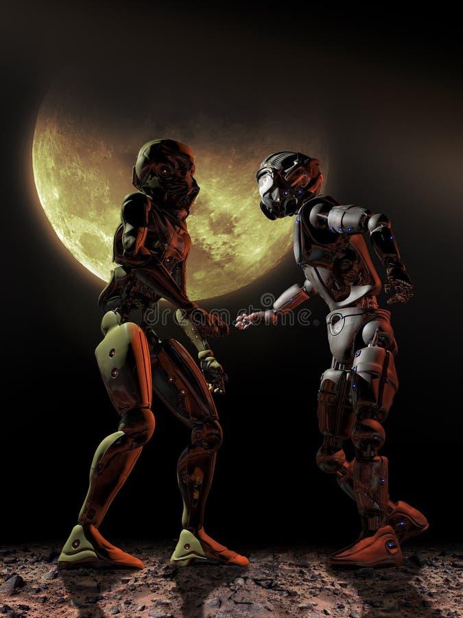 Confrontation d'androïdes illustration stock
