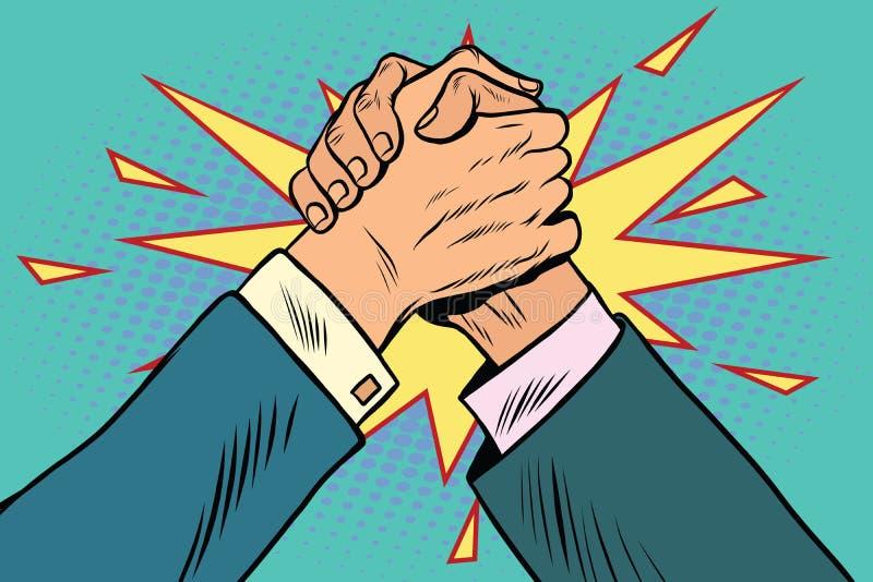 Confrontation de combat de bras de fer d'affaires illustration stock