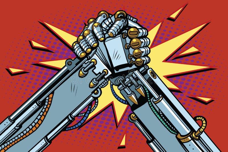 Confrontation de combat de combat de bras de fer de robots illustration stock