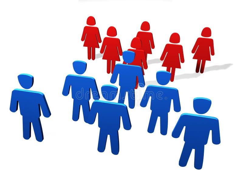 Confrontation des sexes illustration libre de droits