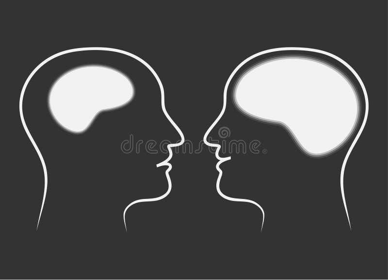 Confronto di dimensione dei cervelli royalty illustrazione gratis