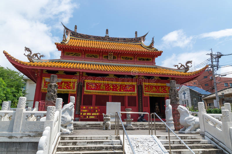 Confucian Temple in Nagasaki, Japan. It's a temple devoted to the memory of Confucius. Confucius Temple in Nagasaki, Japan is the worlds only Confucian temple stock photos