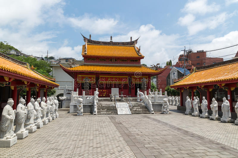 Confucian Temple in Nagasaki, Japan. It's a temple devoted to the memory of Confucius. Confucius Temple in Nagasaki, Japan is the worlds only Confucian temple royalty free stock photos
