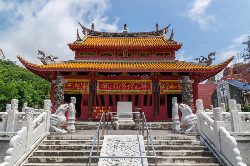 Confucian Temple in Nagasaki, Japan. It's a temple devoted to the memory of Confucius. Confucius Temple in Nagasaki, Japan is the worlds only Confucian temple stock photography