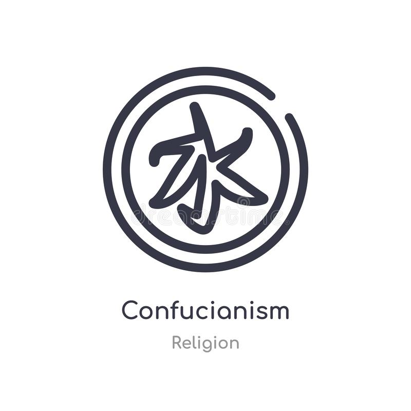 confucianismöversiktssymbol isolerad linje vektorillustration fr?n religionsamling redigerbar tunn slaglängdconfucianismsymbol på royaltyfri illustrationer