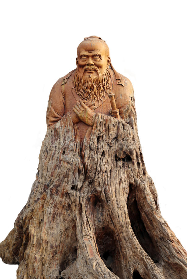 Confucius Woodcarving Like Stock Image