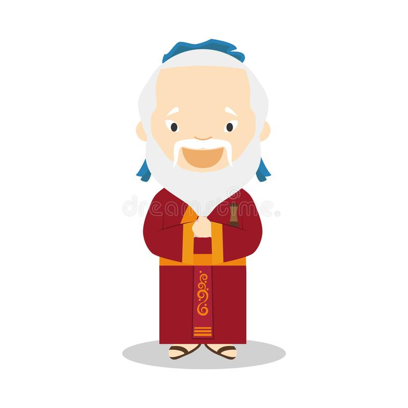 Confucius cartoon character. Vector Illustration. stock illustration