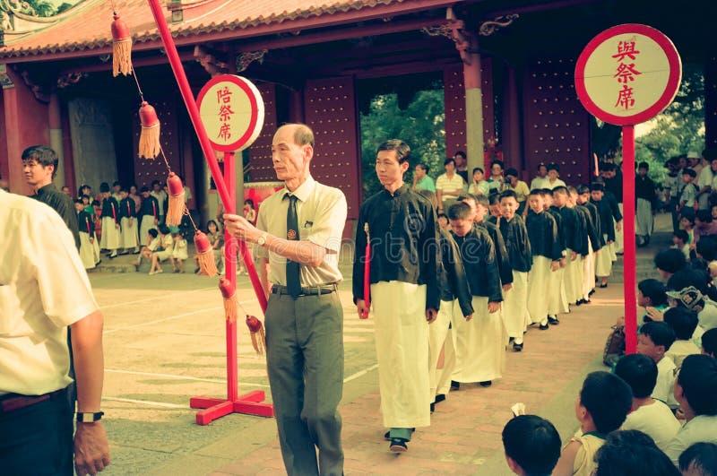 Confucius dnia uczczenia ceremonia w Tainan, Tajwan fotografia royalty free
