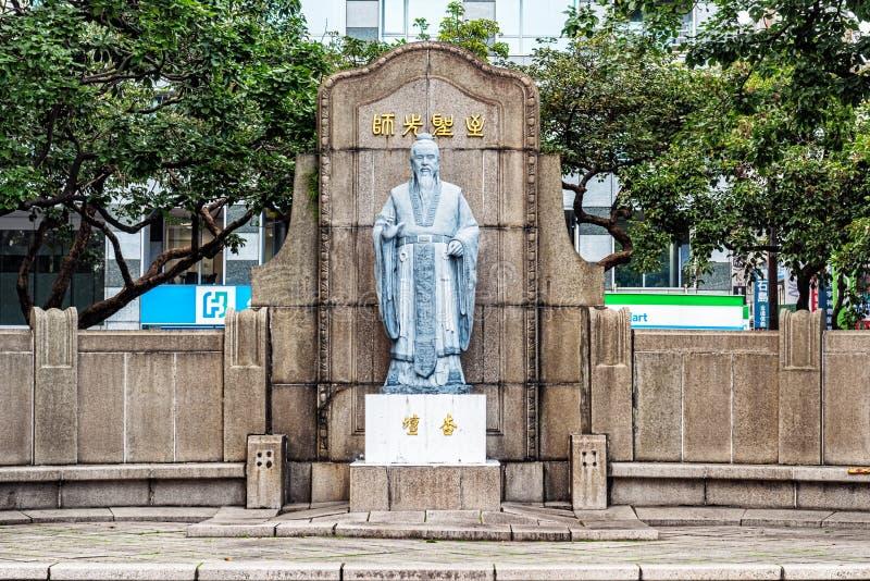 The Confucius statue at 228 peace memorial Park in Taipei, Taiwa. Taipei, Taiwan - Jan 16, 2018: View at the Confucius statue at 228 peace memorial Park in royalty free stock image