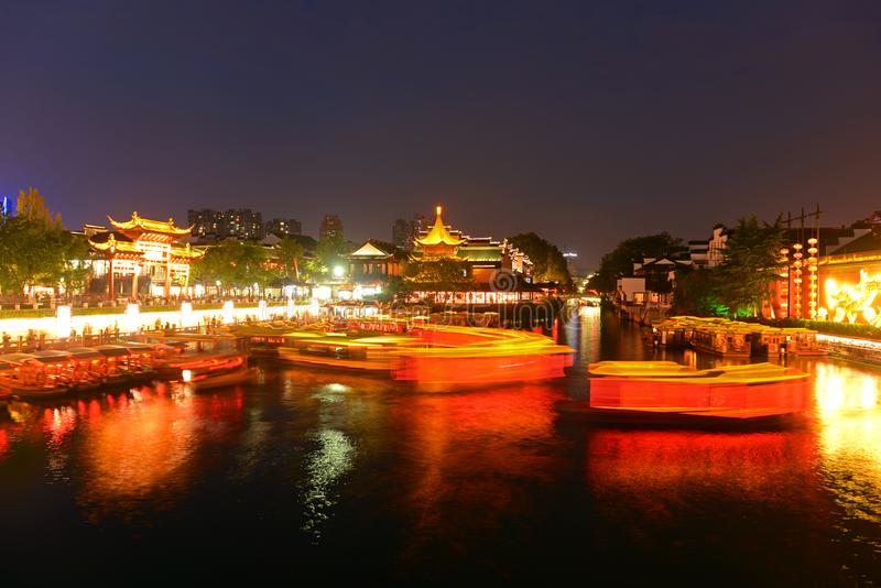 Nanjing Confucius Temple, China. Confucius Temple on the bank of Qinhuai River at night, Nanjing, Jiangsu Province, China. Nanjing Confucius Temple Fuzi Miao go stock image