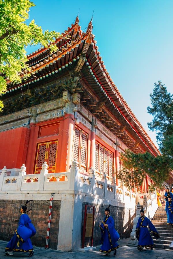 Confucius występu i świątyni aktorzy w Pekin, Chiny obraz stock