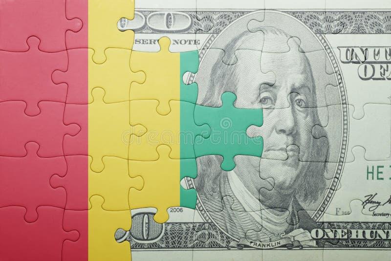 Confunda com a bandeira nacional da cédula da Guiné e do dólar imagem de stock royalty free