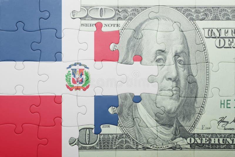 Confunda com a bandeira nacional da cédula da República Dominicana e do dólar fotos de stock