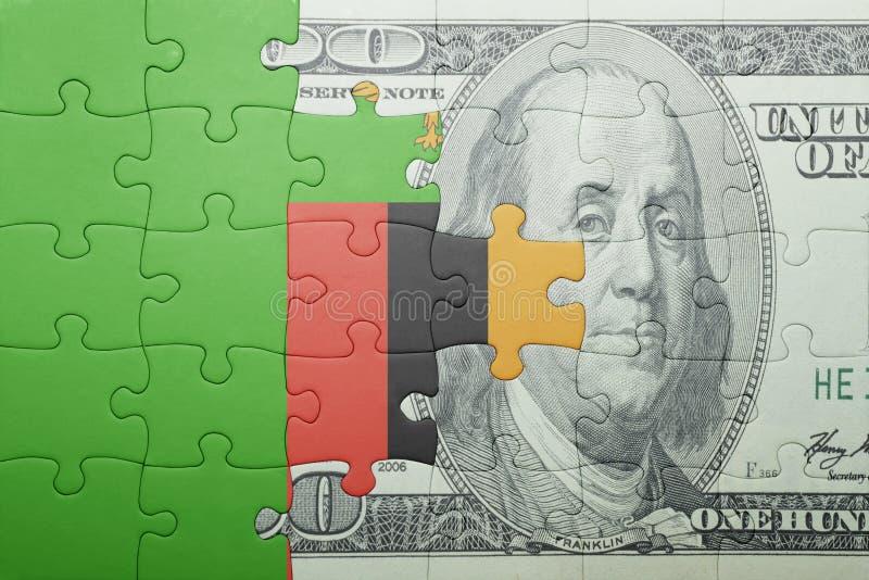 Confunda com a bandeira nacional da cédula da Zâmbia e do dólar fotos de stock royalty free