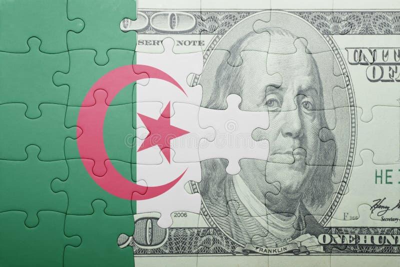 Confunda com a bandeira nacional da cédula de Argélia e de dólar foto de stock royalty free