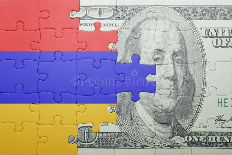 Confunda com a bandeira nacional da cédula de Armênia e de dólar imagem de stock royalty free