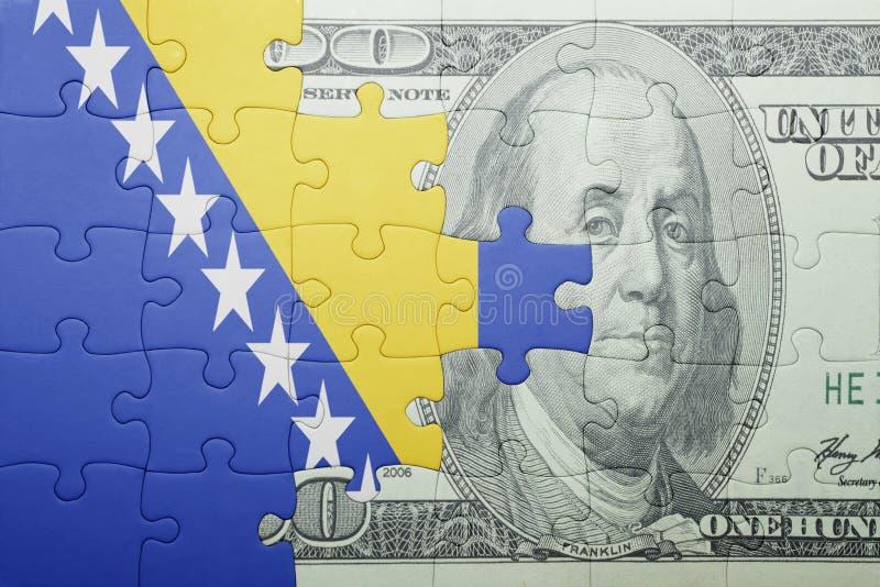 Confunda com a bandeira nacional da cédula de Bósnia e de Herzegovina e de dólar imagem de stock royalty free