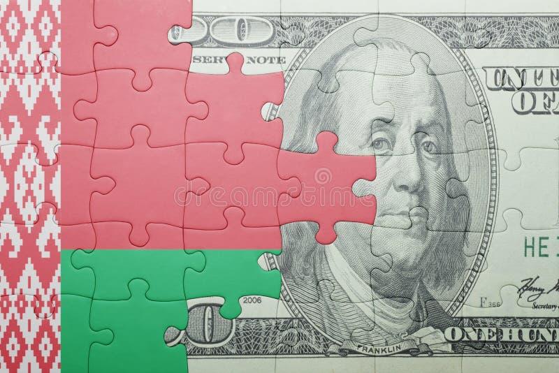Confunda com a bandeira nacional da cédula de belarus e de dólar fotos de stock