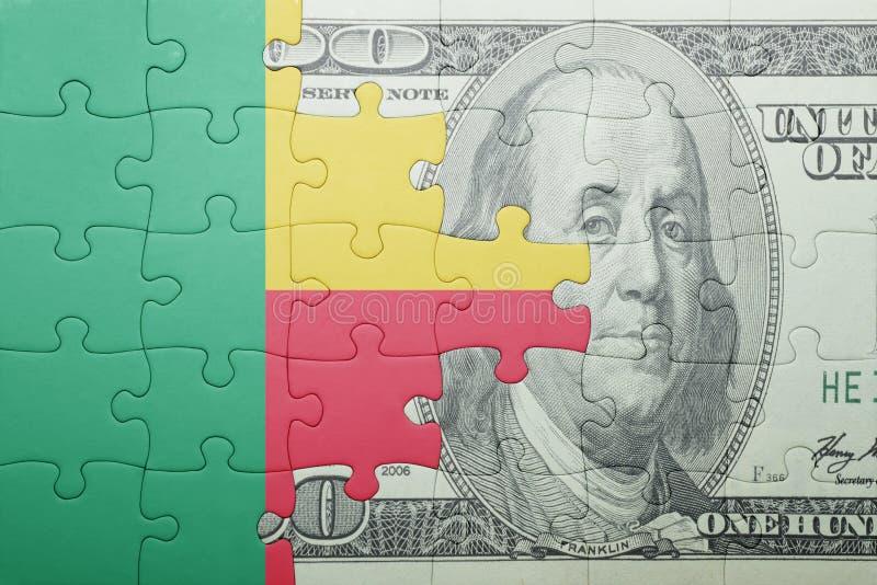 Confunda com a bandeira nacional da cédula de benin e de dólar imagens de stock