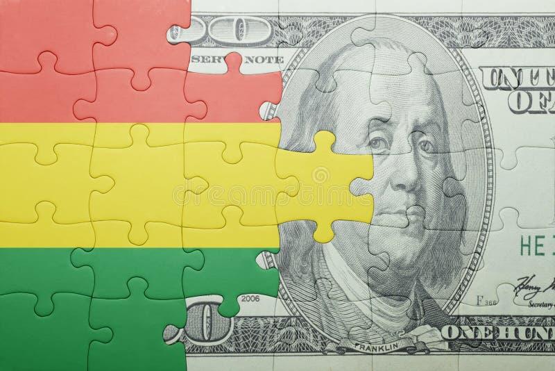 Confunda com a bandeira nacional da cédula de Bolívia e de dólar foto de stock