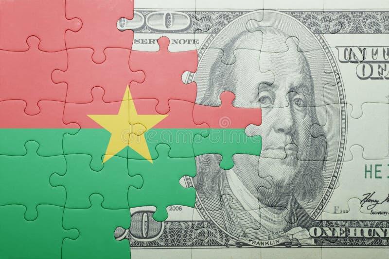 Confunda com a bandeira nacional da cédula de Burkina Faso e de dólar imagens de stock royalty free