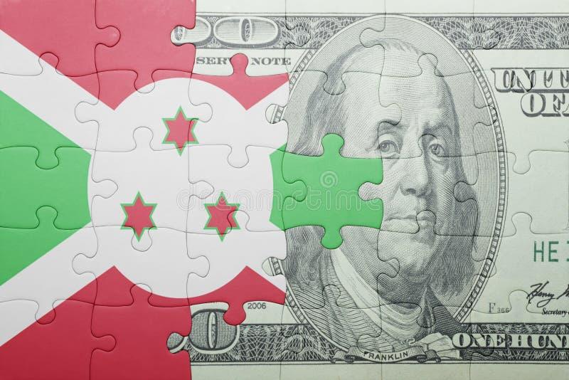 Confunda com a bandeira nacional da cédula de burundi e de dólar fotos de stock royalty free