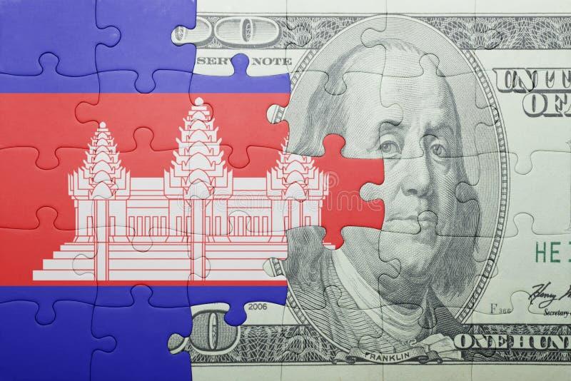 Confunda com a bandeira nacional da cédula de cambodia e de dólar imagens de stock royalty free