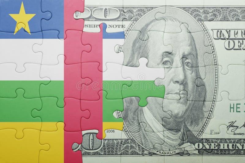 Confunda com a bandeira nacional da cédula de Central African Republic e de dólar fotografia de stock royalty free