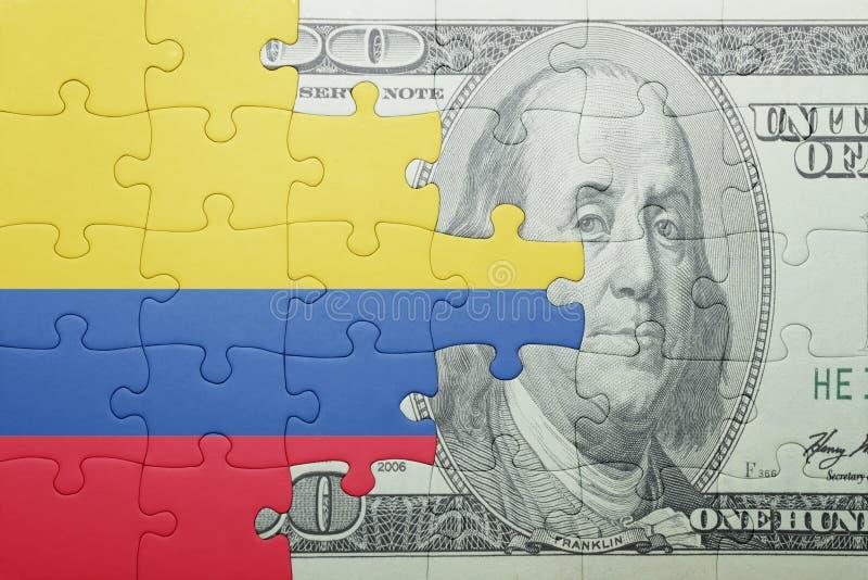 Confunda com a bandeira nacional da cédula de Colômbia e de dólar fotografia de stock royalty free